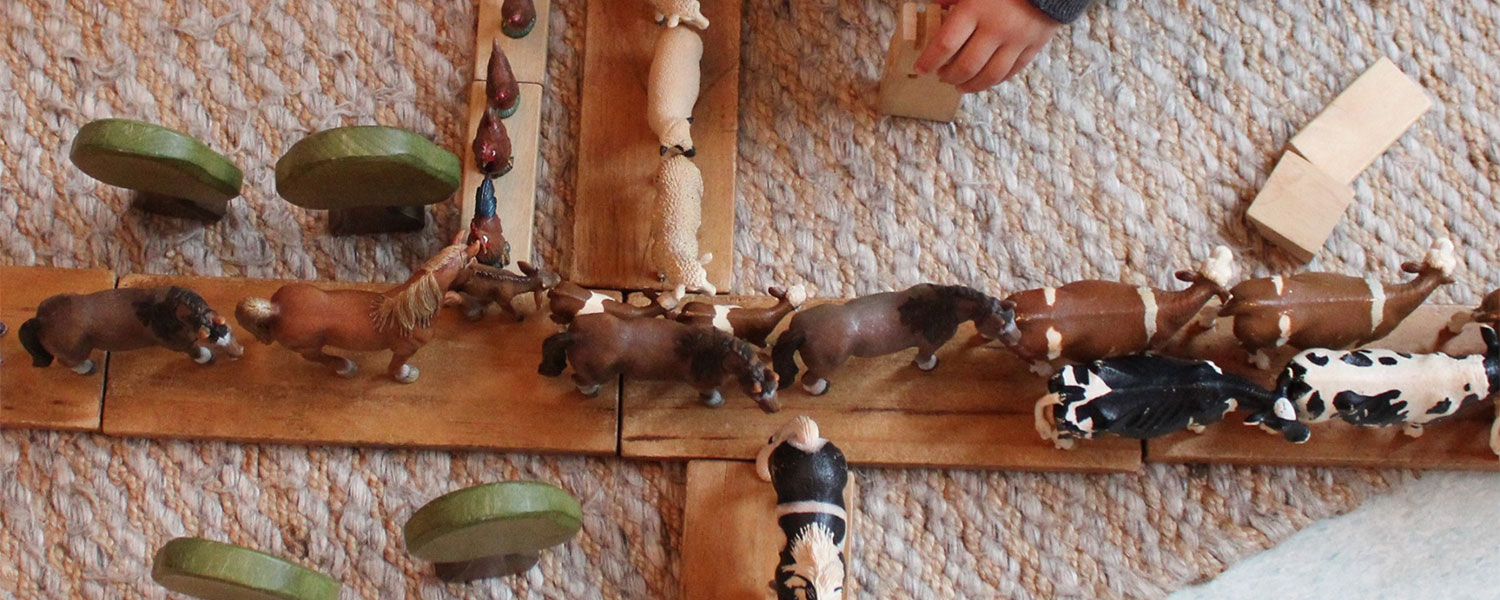child playing with wood and animals